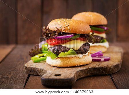 Big Sandwich - Hamburger Burger With Beef, Cheese, Tomato And Tartar Sauce