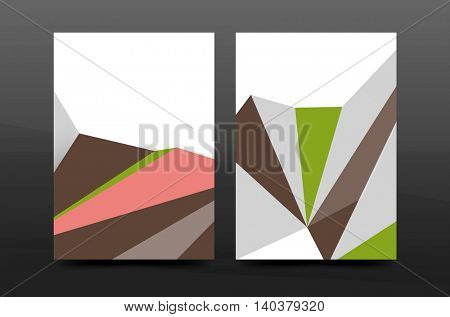 3d triangle shapes. Business annual report cover. A4 size presentation flyer or corporate correspondence report