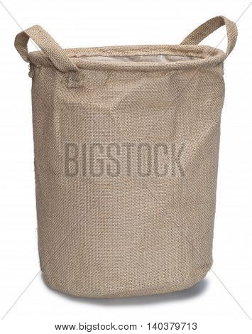 Burlap bag with handles isolated on the white background with shadow.