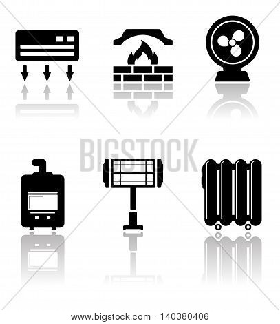 set of heating and cooling icons with mirror reflection
