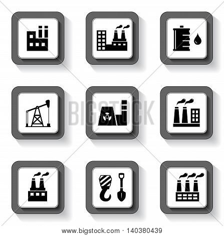nine buttons set with industrial isolated objects