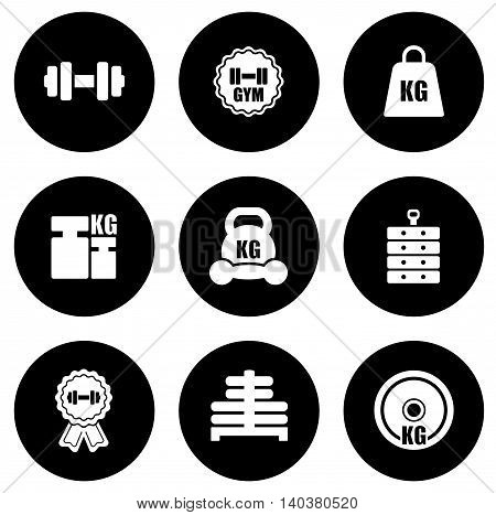 set of weight black isolated round icons
