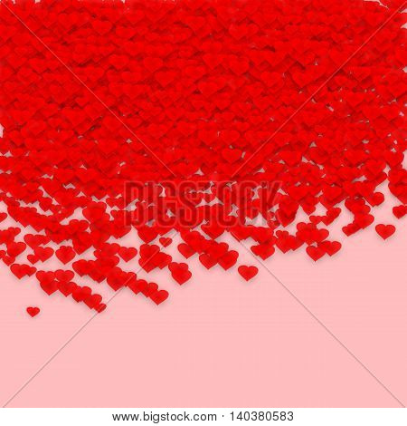 Background for a postcard with red hearts. Happy Valentines day.