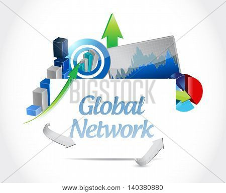 Global Network Business Chart Sign Concept
