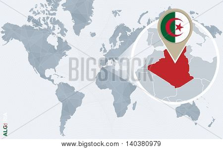 Abstract Blue World Map With Magnified Algeria.