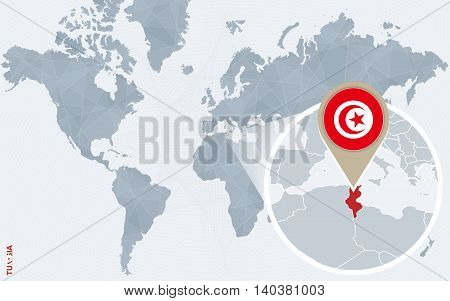 Abstract Blue World Map With Magnified Tunisia.