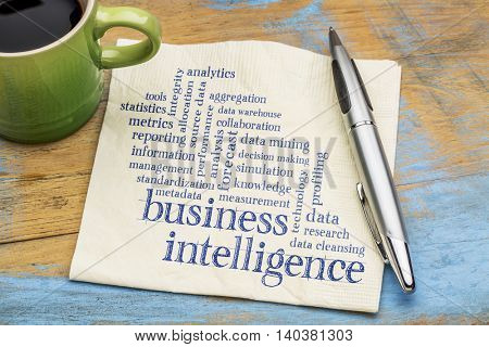 business intelligence word cloud - handwriting on a napkin with a cup of tea