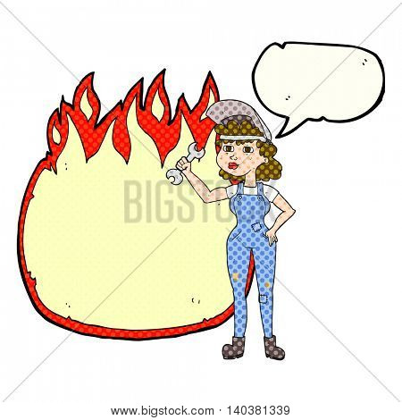 freehand drawn comic book speech bubble cartoon woman with spanner