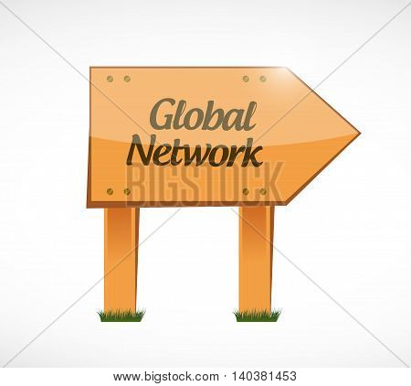 global network wood sign concept illustration design graphic