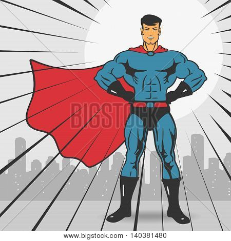 Super Action Hero Stand Vector Illustration eps 8 file format