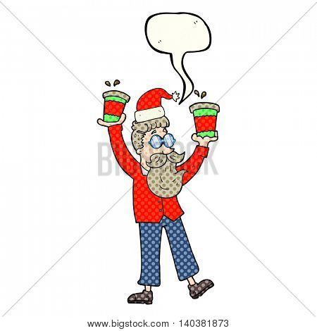 freehand drawn comic book speech bubble cartoon man with coffee cups at christmas