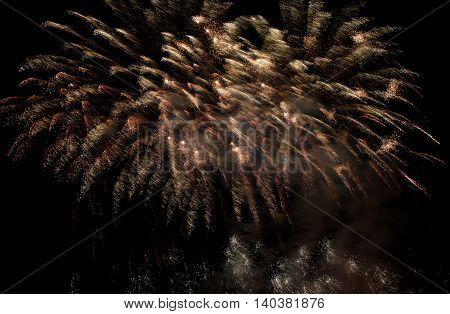 Orange fireworks background, fireworks in the sky, wallpaper, happiness concept
