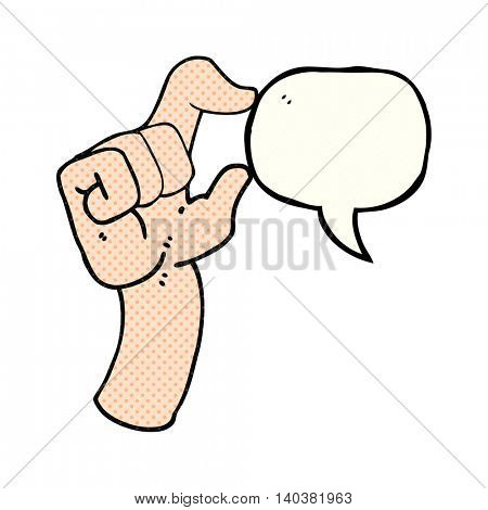 freehand drawn comic book speech bubble cartoon hand making smallness gesture