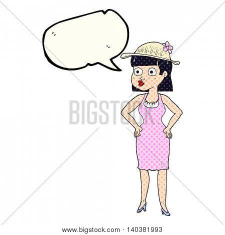 freehand drawn comic book speech bubble cartoon woman wearing sun hat