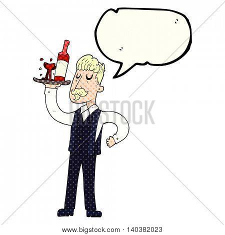 freehand drawn comic book speech bubble cartoon waiter
