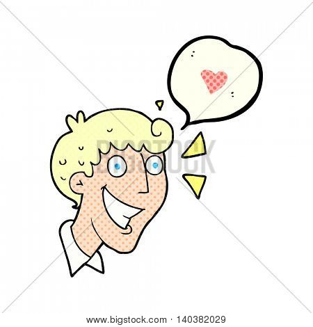 freehand drawn comic book speech bubble cartoon excited man