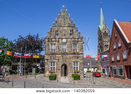 SCHUTTORF, GERMANY - JULY 19, 2016: Old town hall in the center of Schuttorf, Germany