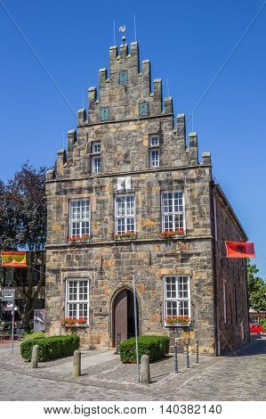 SCHUTTORF, GERMANY - JULY 19, 2016: Historical town hall in the center of Schuttorf, Germany