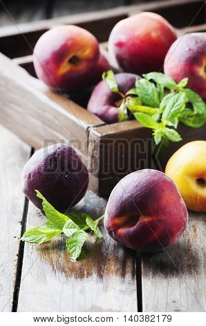 Fresh Sweet Peaches With Mint