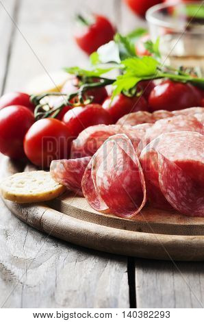 Fresh Salami With Tomato And Bread