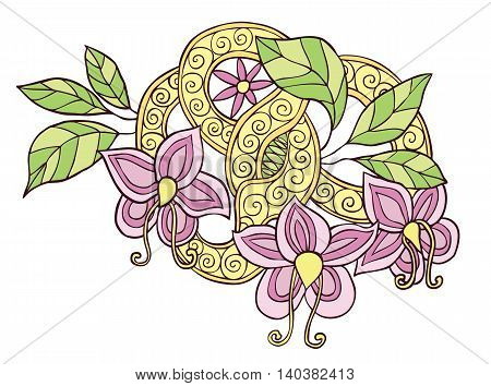 Hand drawn color doodle flowers, leafs and ribbon with swirl isolated on white background
