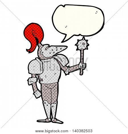 freehand drawn comic book speech bubble cartoon medieval knight