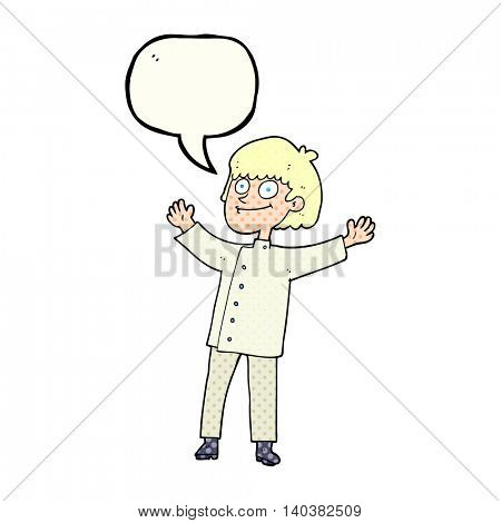 freehand drawn comic book speech bubble cartoon chef