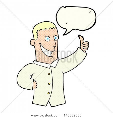 freehand drawn comic book speech bubble cartoon man giving approval