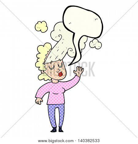 freehand drawn comic book speech bubble cartoon woman letting off steam