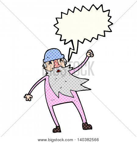 freehand drawn comic book speech bubble cartoon old man in thermal underwear