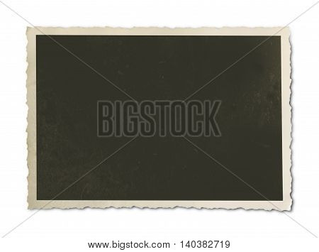 old, blank vintage photo with copy space, isolated on white