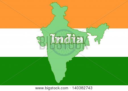 Detailed India Map against the backdrop of India's flag. Vector illustration