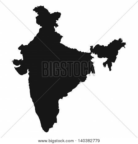 High detailed map of India. Black silhouette isolated on white background. Vector illustration
