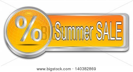 orange Summer Sale Button - 3D illustration