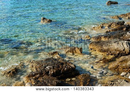 Untouched nature on a rocky beach in Montenegro