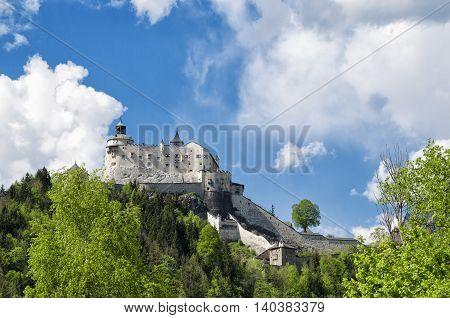 Medieval Hohenwerfen Castle. Historical Landmark On Salzach Valley, Austria