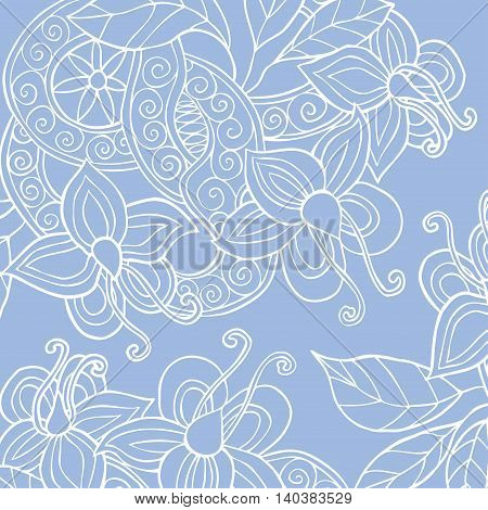 Square background with hand drawn flowers, leafs and ribbon with swirl. Vector illustration