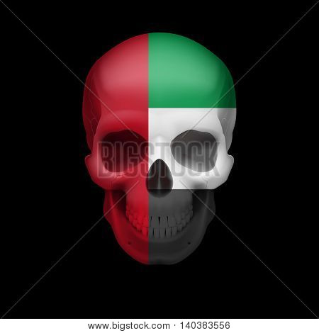 Human skull with flag of United Arab Emirates. Threat to national security war or dying out