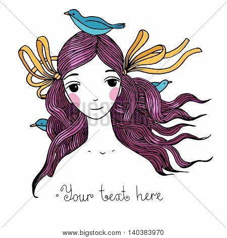 Beautiful young girl with birds. Hand drawing isolated objects on white background. Vector illustration.