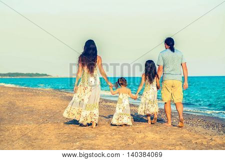 Happy family having fun together. Summer holidays. Retro style