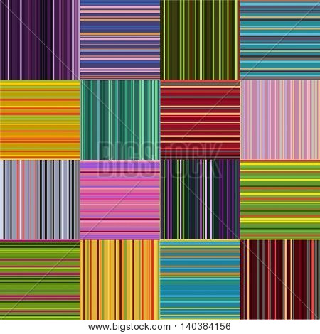 Striped mosaic colored bright mosaic patterns set.