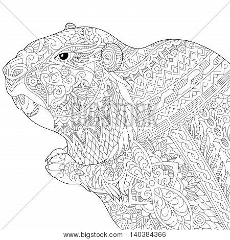 Stylized groundhog (gopher marmot woodchuck or beaver) isolated on white background. Freehand sketch for adult anti stress coloring book page with doodle and zentangle elements.