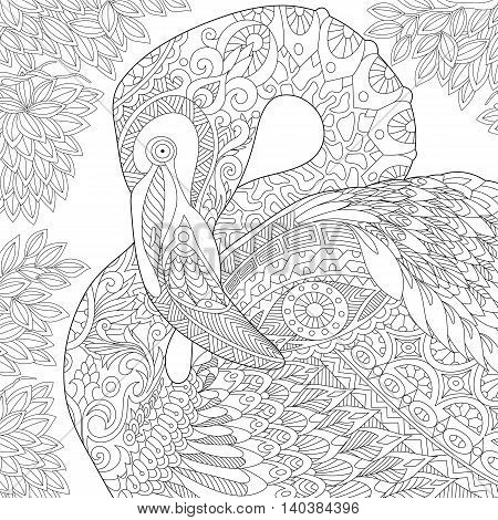 Stylized flamingo bird among jungle foliage. Freehand sketch for adult anti stress coloring book page with doodle and zentangle elements.
