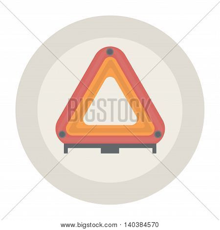 Warning triangle on simple background. Vector illustration.