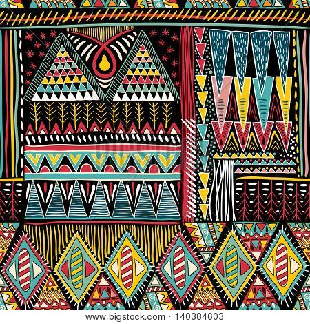Abstract colorful ethnic seamless pattern. Vector backdrop