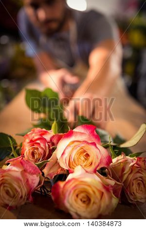 Bunch of pink roses on table at flower shop