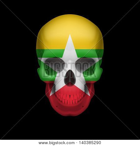 Human skull with flag of Myanmar. Threat to national security war or dying out