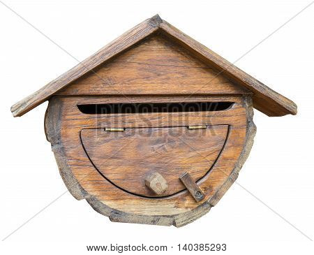 Rustic Wooden mailbox isolated on white background