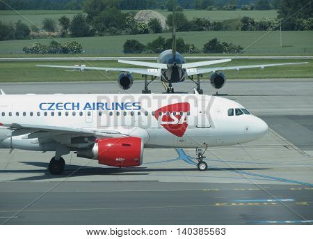 PRAGUE CZECH REPUBLIC - CIRCA JUNE 2016: Airbus A319 of the Czechairlines on the runway