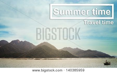 Sumer time travel time Island background banner. Summer travel text on beach ocean background. Japan island summer travel background banner,